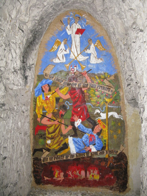 Wall painting in Eastry caves