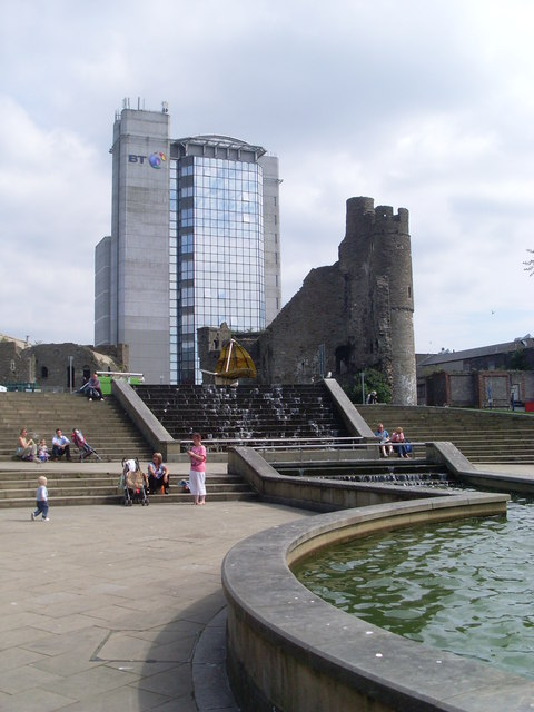 Swansea Castle and BT Tower Block
