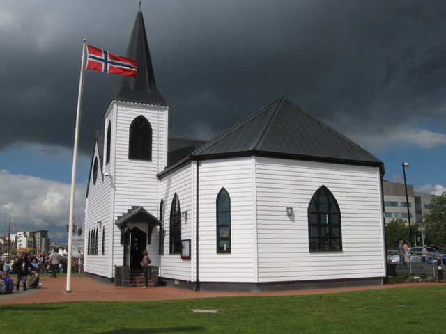 Norwegian Church under a threatening sky