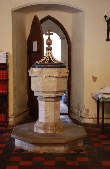 All Saints, Welborne - Font