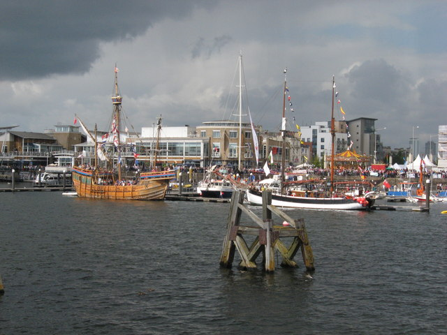 Tall ships Matthew and Ruth at Cardiff Harbour Festival