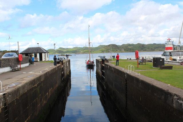 Crinan Canal sea loch open to Crinan Loch
