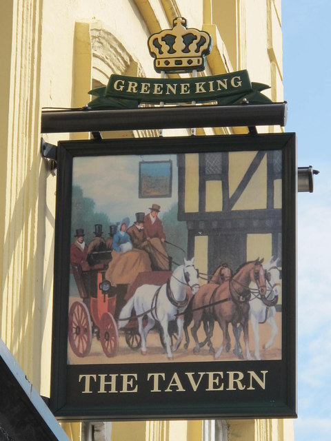 (West-facing) sign for The Tavern, Cricklewood Lane, NW2