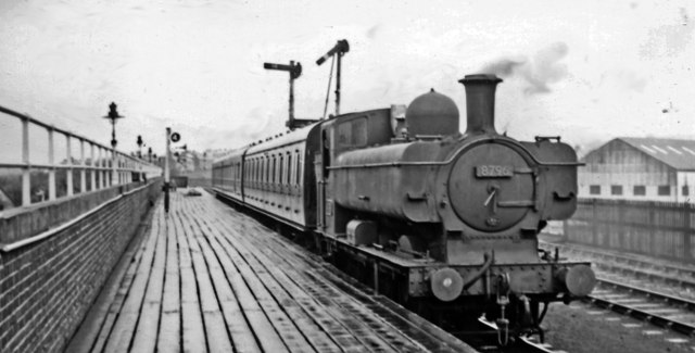 Brynmawr station, with local train from Newport.