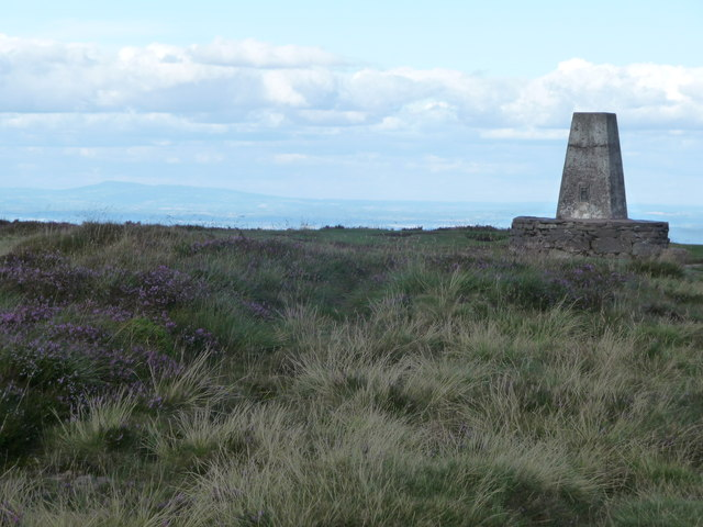 Hay Bluff trig point, looking towards Clee Hill