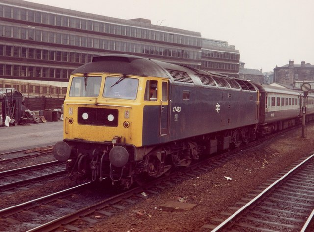 Class 47 Near Haymarket Station,  1981