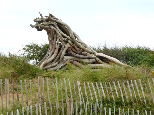 Sculpture at the Victoria Road National Trust car park, Formby