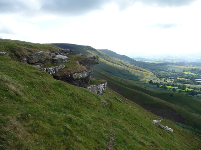 Rocky outcrop on the northern escarpment of the Black Mountains