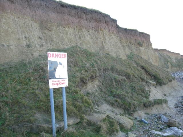 Unstable cliffs at Reculver
