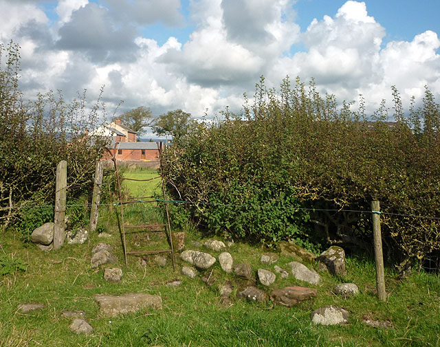 Metal stile, footpath to France Hill