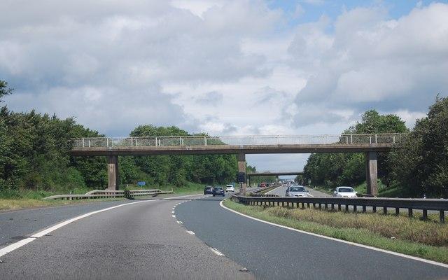 Footbridge over the A1(M) near Low Coniscliffe