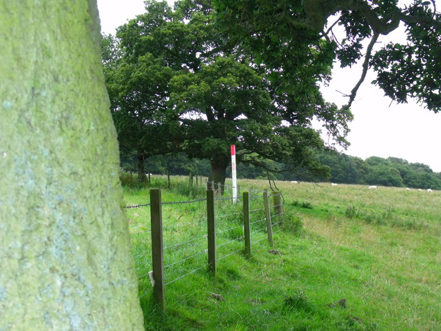 Pipeline marker near Berryhill Wood north-west of Morpeth