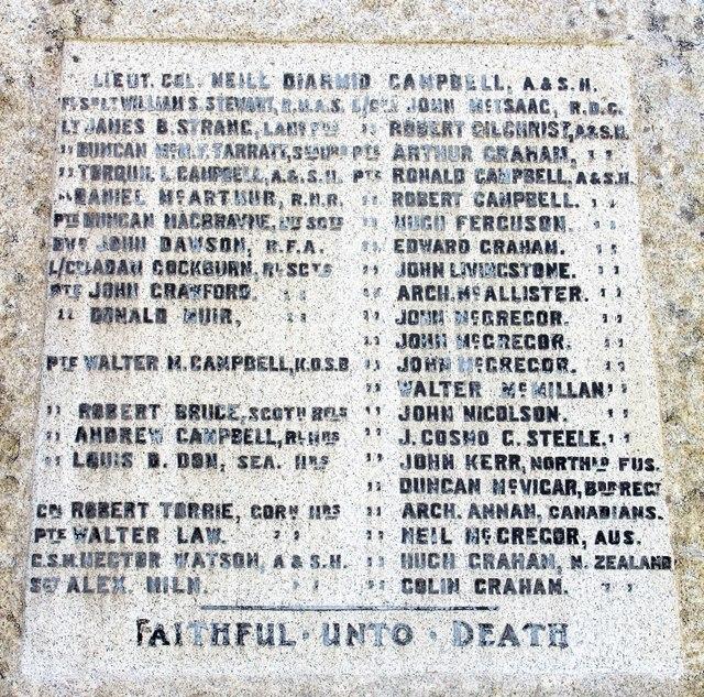 Ardrishaig war memorial - Great War names