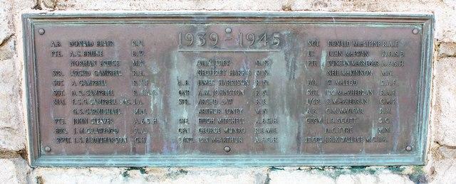 Ardrishaig war memorial - Second World War names
