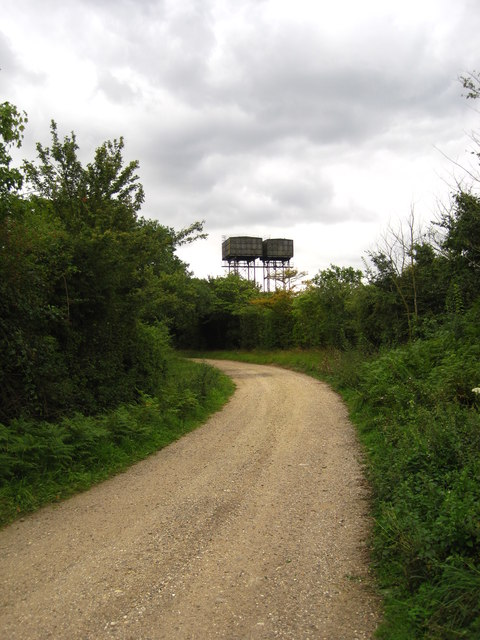 Track and water towers near Bentwaters airfield