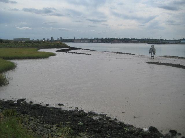 River Thames: Rainham Marshes and The Diver sculpture