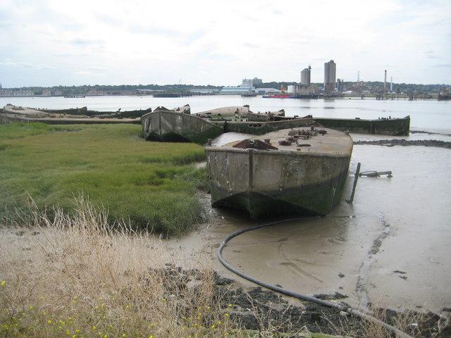 River Thames: Abandoned ferro-concrete barges
