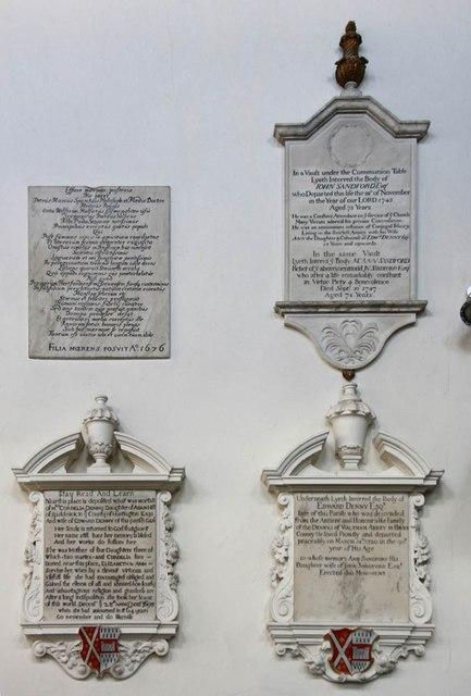 St Michael, Bishops Stortford - Wall monuments