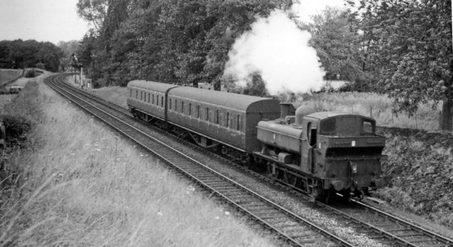 Local train from Crewe approaching Market Drayton Junction, Wellington