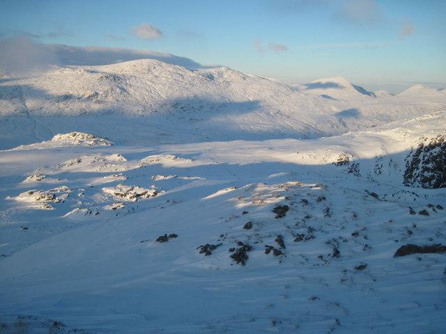 Christmas Day 2010: Looking towards Y Foel Goch and Gallt yr Ogof from Carnedd y Cribau