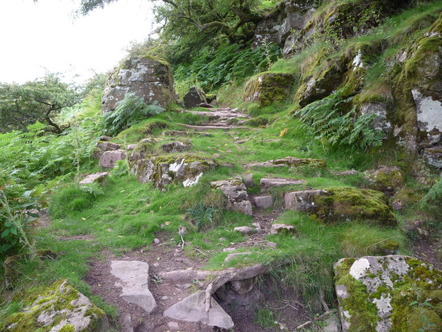 Path up the valleyside in the Llanthony Valley