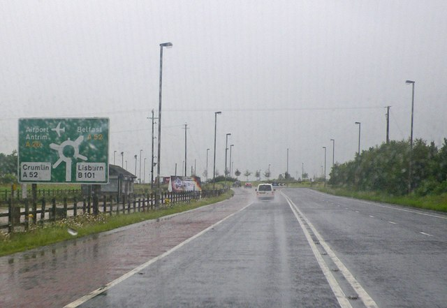 Approaching the Nutts Corner roundabout on a rainy day