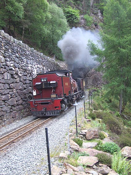 Welsh Highland Railway No. 138 emerging from Aberglaslyn tunnel
