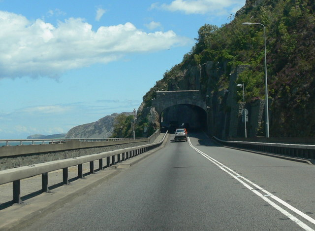 The A55 enters the Pen-y-Clip tunnel