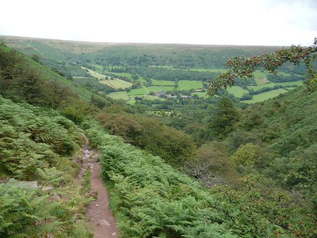 Part of the Beacons Way down Cwm Bwchel