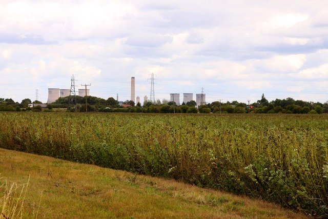 Looking over a field towards Didcot Power Station