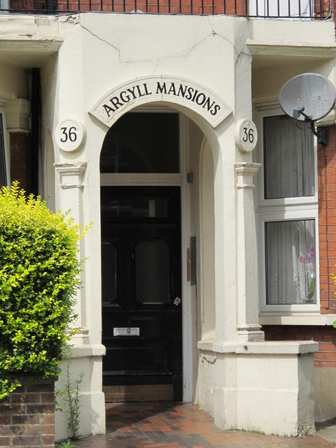 Entrance to Argyle Mansions, Chichele Road / Rockhall Road, NW2 (2)