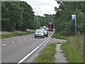 SP2283 : Bus stop and lay-by, A45 Birmingham Road  by Robin Stott
