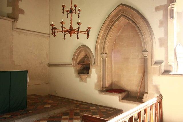 St Mary, Manuden - Piscina & sedilia