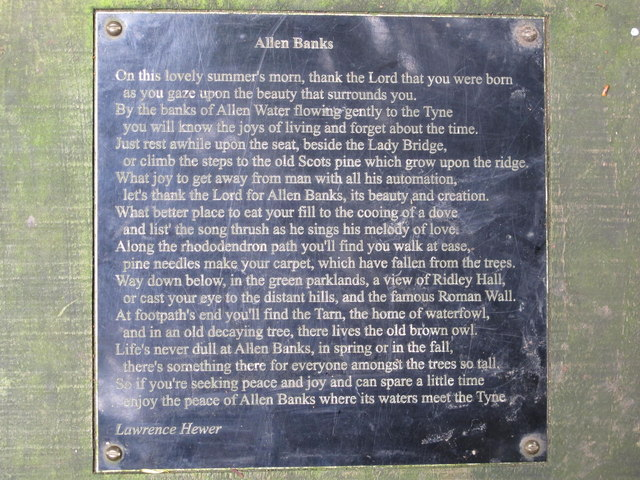 Plaque with a poem by Lawrence Hewer on a seat by the riverside path at Allen Banks