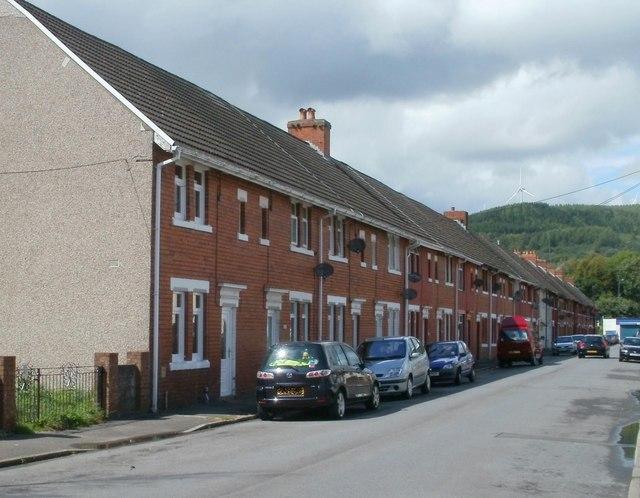 Long row of houses, Pentre Street, Glynneath