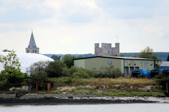 Rochester Castle and Steeple of Rochester Cathedral from Chatham Historic Dockyard