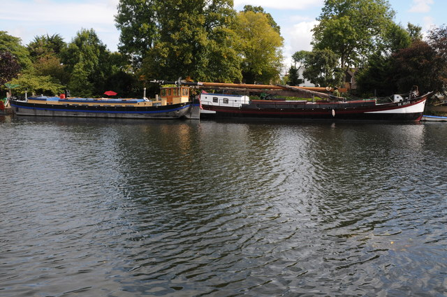 Moored barges