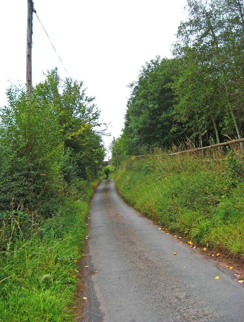 Brunthorne Lane looking south, near Areley Kings