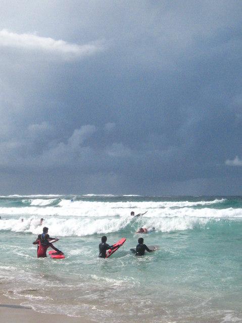 Bodyboarders at Sennen Cove