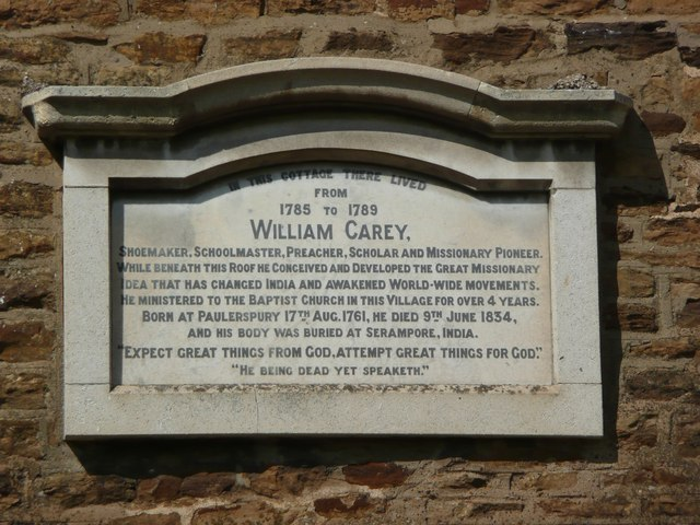 Plaque on Carey Cottage, Moulton