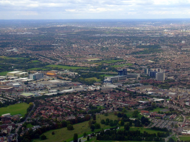 Syon Park and Brentford from the air