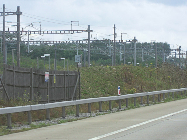 Gantries carrying the catenary electrical supply for the CTRL
