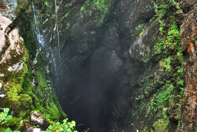 Gaping Gill Pothole seen from a surface of a ground