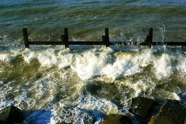 Wooden sea defences, West Runton beach