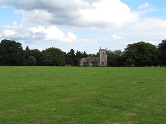 Looking over green towards the church