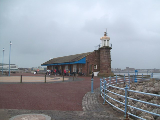 Cafe and lighthouse on the stone jetty, Morecambe