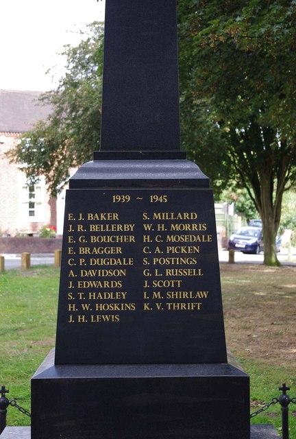 Inscription on new War Memorial - south side, High Street, Kinver