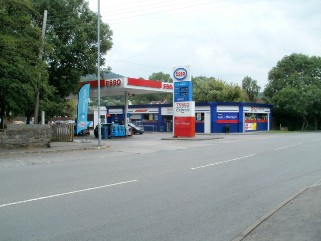 Esso filling station and Tesco Express, Glynneath