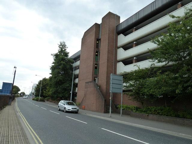 Multi storey car park opposite the railway station