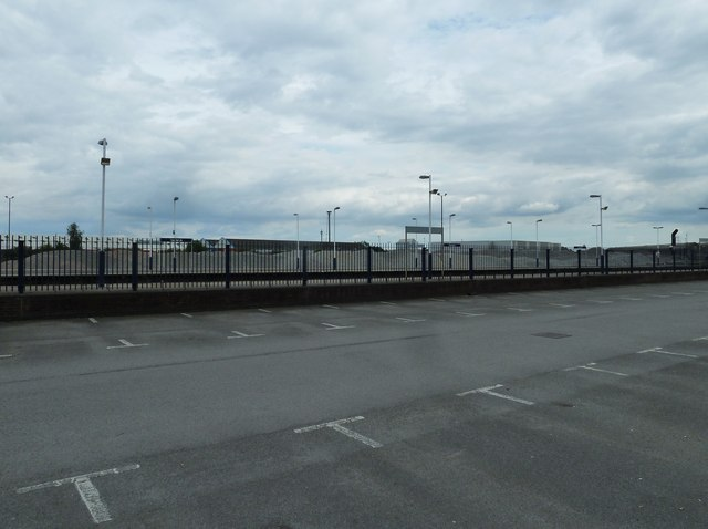 An empty car park at the railway station